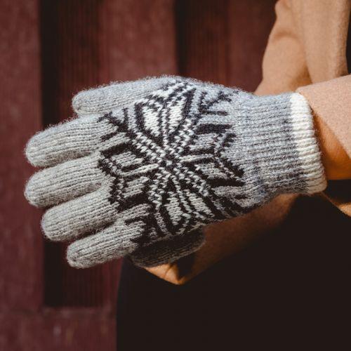 针织羊毛手套
